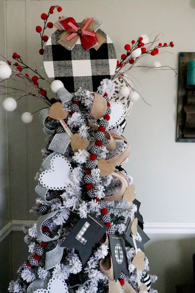 DIY Valentine's Day Tree Buffalo Plaid Topper