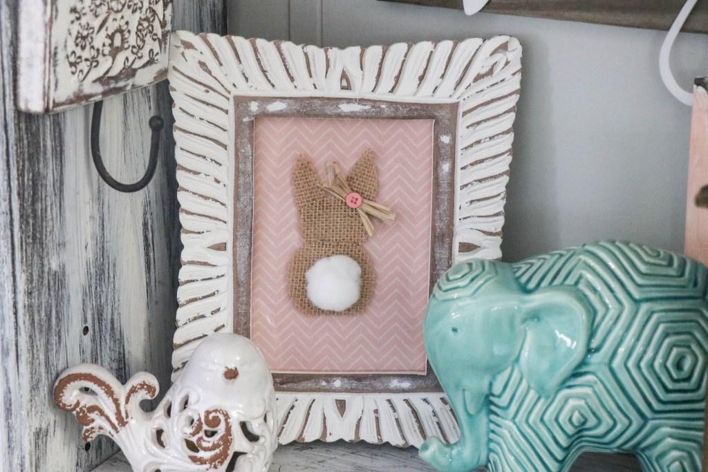DIY Burlap Bunny in a frame