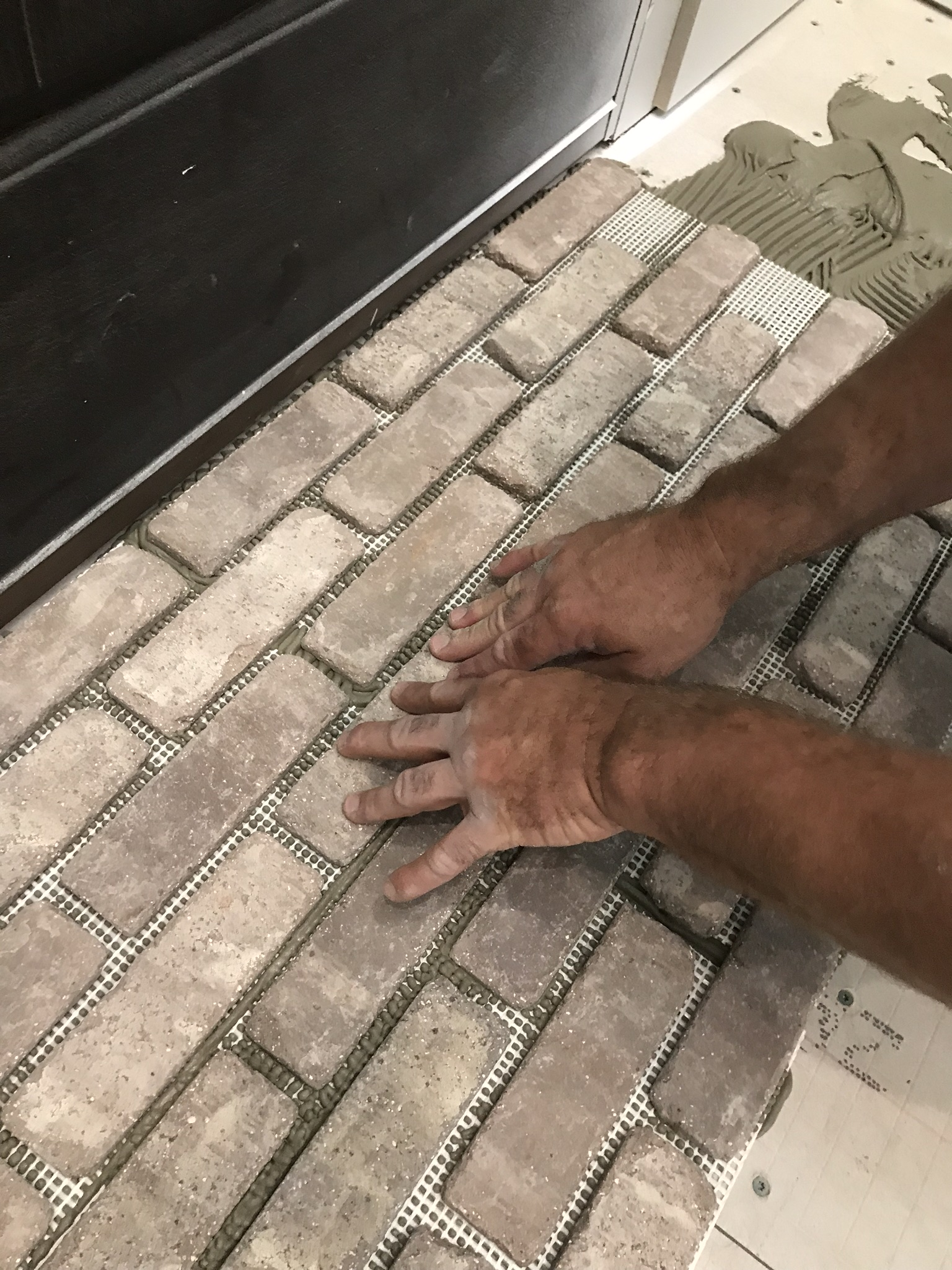how to install brick flooring re fabbed