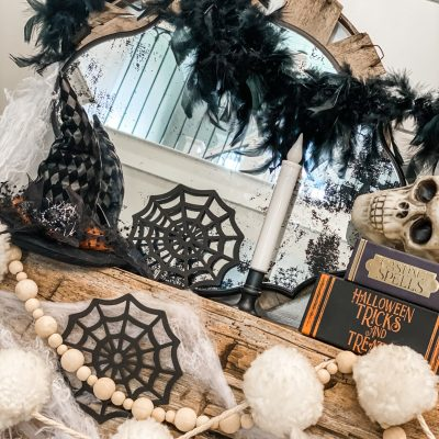 cheap and easy Halloween fireplace