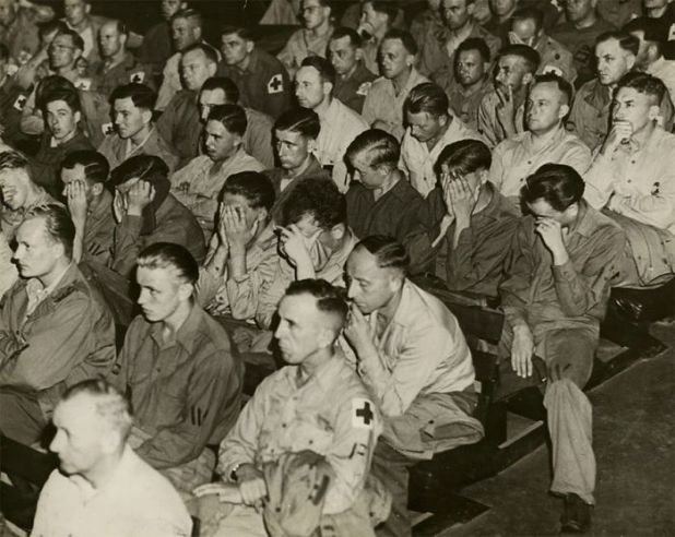 German Soldiers React To Footage Of Concentration Camps, 1945