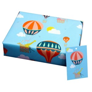Re-wrapped: ECO Friendly Wrapping Paper Childrens Hot Air Balloons Tags by Louise Thomas made from 100% Unbleached Recycled Paper