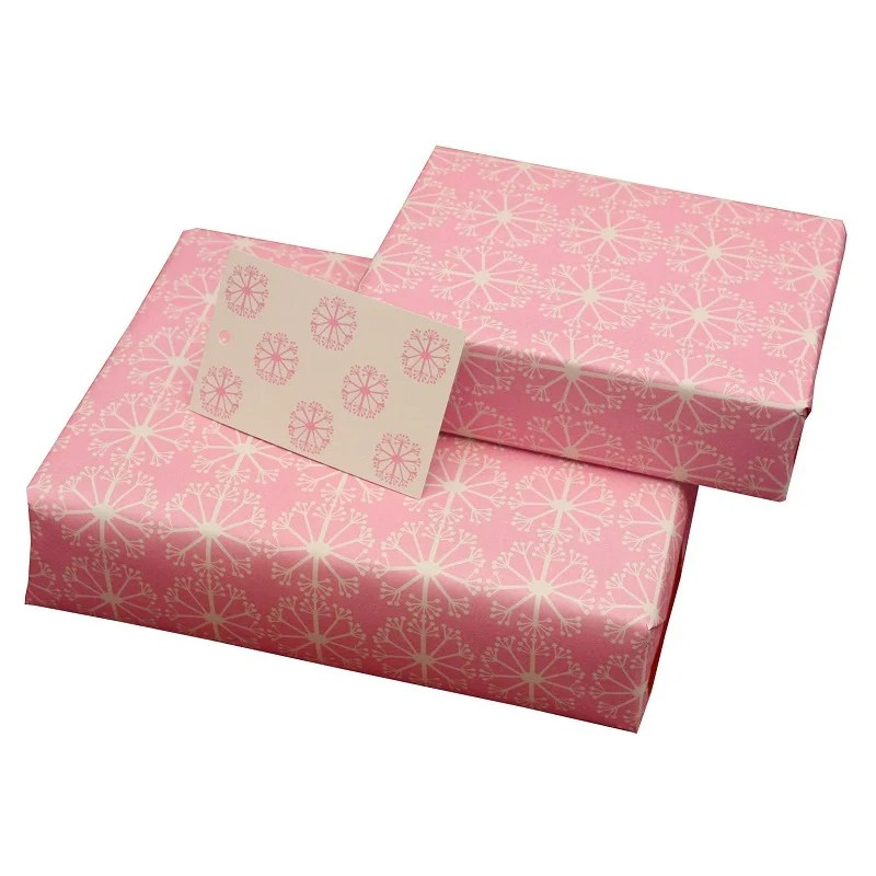 Re-wrapped: ECO Friendly Wrapping Paper Pink Ditsy Ditsy by Kate Heiss made from 100% Unbleached Recycled Paper