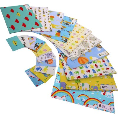 Re-wrapped: ECO Friendly Wrapping Paper Children's Large Pack made from 100% Unbleached Recycled Paper