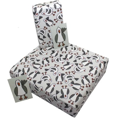Re-wrapped: ECO Friendly Birthday Wrapping Paper Southwold Seagulls for Children by Rosie Parkinson made from 100% Unbleached Recycled Paper