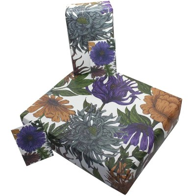 Re-wrapped: ECO Friendly Birthday Wrapping Paper Purple Phoebe by Rosie Parkinson made from 100% Unbleached Recycled Paper
