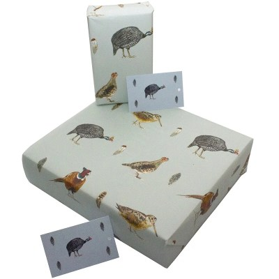 Re-wrapped: ECO Friendly Wrapping Paper Game Birds by Sophie Botsford made from 100% Unbleached Recycled Paper