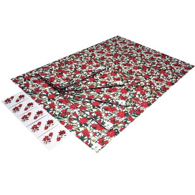 Re-wrapped: ECO Friendly Xmas Wrapping Paper Christmas Poinsettia by Emily Chapman made from 100% Unbleached Recycled Paper