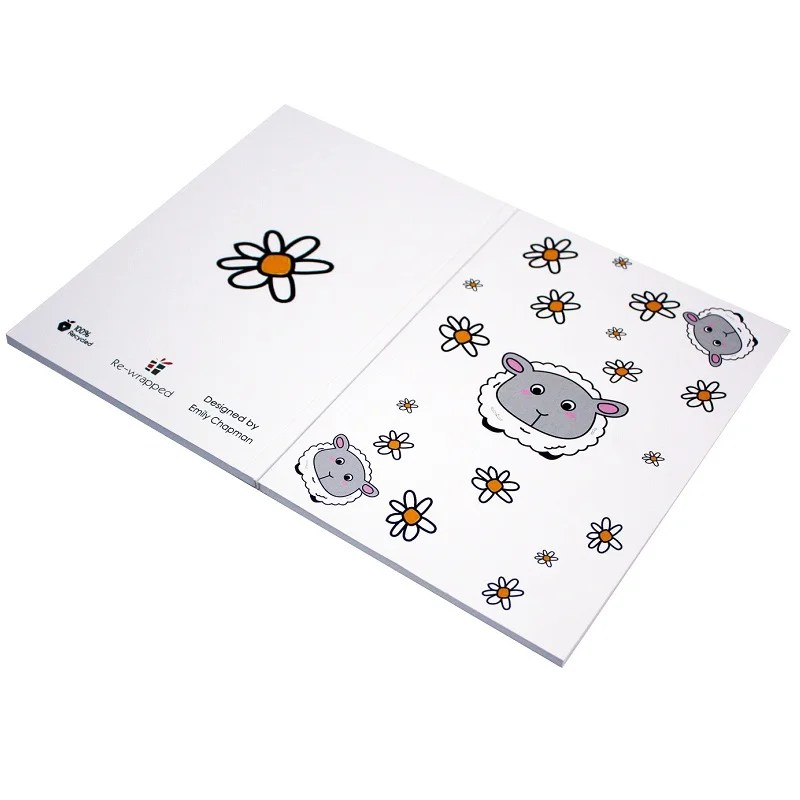 Re-wrapped: ECO Friendly Notebooks Childrens Sheep & Daisies by Emily Chapman made from 100% Unbleached Recycled Paper