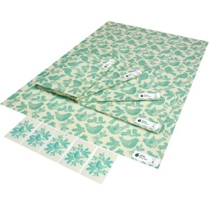 Re-wrapped: ECO Friendly Xmas Wrapping Paper Christmas Folk Robins Blue by Kate Heiss made from 100% Unbleached Recycled Paper
