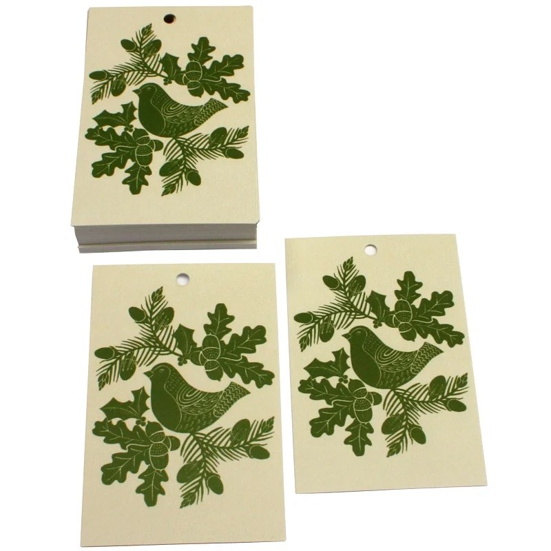 Re-wrapped: ECO Friendly Xmas Wrapping Paper Tags Christmas Folk Robins Green by Kate Heiss made from 100% Unbleached Recycled Paper