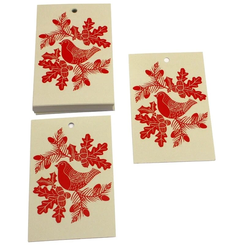 Re-wrapped: ECO Friendly Xmas Wrapping Paper Tags Christmas Folk Robins Red by Kate Heiss made from 100% Unbleached Recycled Paper
