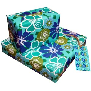 Re-wrapped: ECO Friendly Wrapping Paper Tropical by Kate Heiss made from 100% Unbleached Recycled Paper