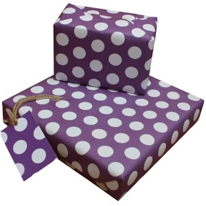 Re-wrapped: ECO Friendly Wrapping Paper Polka Dot Purple by Tracy Umney made from 100% Unbleached Recycled Paper
