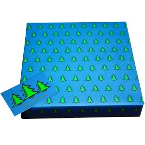 Re-wrapped: ECO Friendly Xmas Wrapping Paper O Christmas Tree Blue by Tracy Umney made from 100% Unbleached Recycled Paper