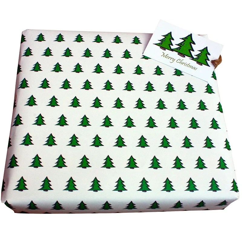 Re-wrapped: ECO Friendly Xmas Wrapping Paper O Christmas Tree White by Tracy Umney made from 100% Unbleached Recycled Paper
