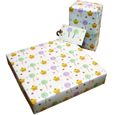 Re-wrapped: ECO Friendly Wrapping Paper Childrens Sugar & Spice by Tracy Umney made from 100% Unbleached Recycled Paper