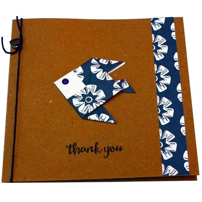 Re-wrapped: ECO Friendly Wrapping Paper Woodblock Flowers Thank You Card made from 100% Unbleached Recycled Paper