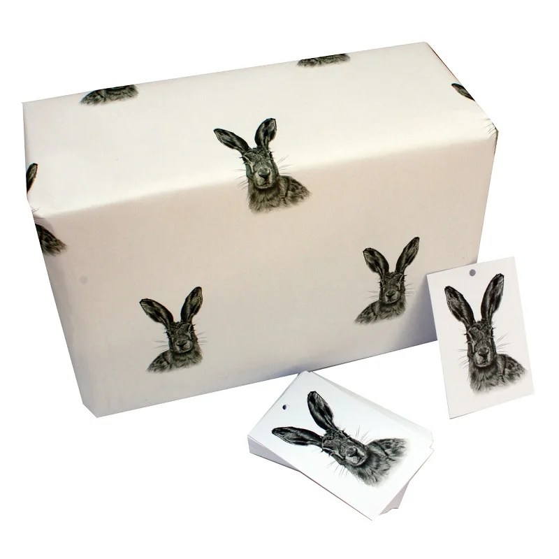 Re-wrapped: ECO Friendly Wrapping Paper Black and White Hares by Sophie Botsford made from 100% Unbleached Recycled Paper