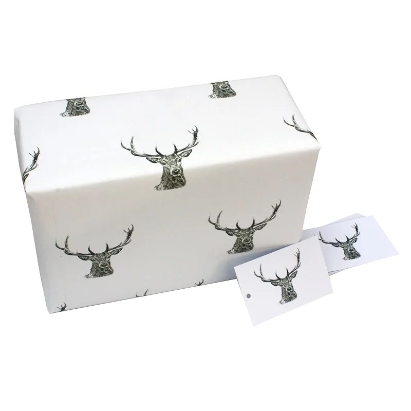 Re-wrapped: ECO Friendly Wrapping Paper Black and White Stags by Sophie Botsford made from 100% Unbleached Recycled Paper