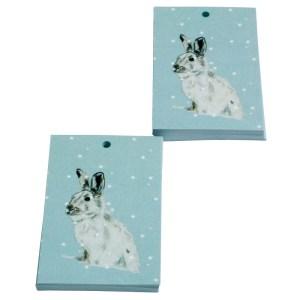 Re-wrapped: ECO Friendly Xmas Wrapping Paper Tags Christmas White Hares by Sophie Botsford made from 100% Unbleached Recycled Paper