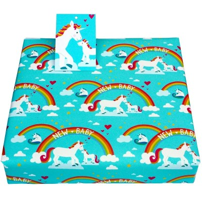 Re-wrapped: ECO Friendly Wrapping Paper New Baby Unicorns by Vicky Scott made from 100% Unbleached Recycled Paper