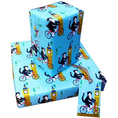 Re-wrapped: ECO Friendly Wrapping Paper London Cats by Vicky Scott made from 100% Unbleached Recycled Paper