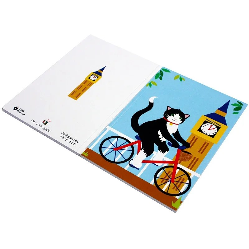 Re-wrapped: ECO Friendly Notebooks London Cats by Vicky Scott made from 100% Unbleached Recycled Paper