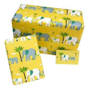 Re-wrapped: ECO Friendly Wrapping Paper Childrens Yellow Elephants by Vicky Scott made from 100% Unbleached Recycled Paper