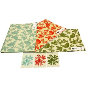 Re-wrapped: ECO Friendly Xmas Wrapping Paper Christmas Folk Robins Bundle by Kate Heiss made from 100% Unbleached Recycled Paper