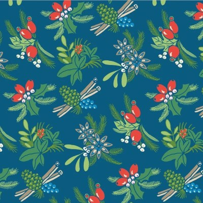 Re-wrapped: ECO Friendly Wrapping Paper Christmas Cinnamon and Berries by Kate Heiss made from 100% Unbleached Recycled Paper