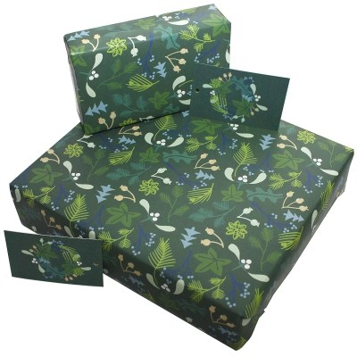 Re-wrapped: ECO Friendly Wrapping Paper Christmas Green Mistletoe by Kate Heiss made from 100% Unbleached Recycled Paper