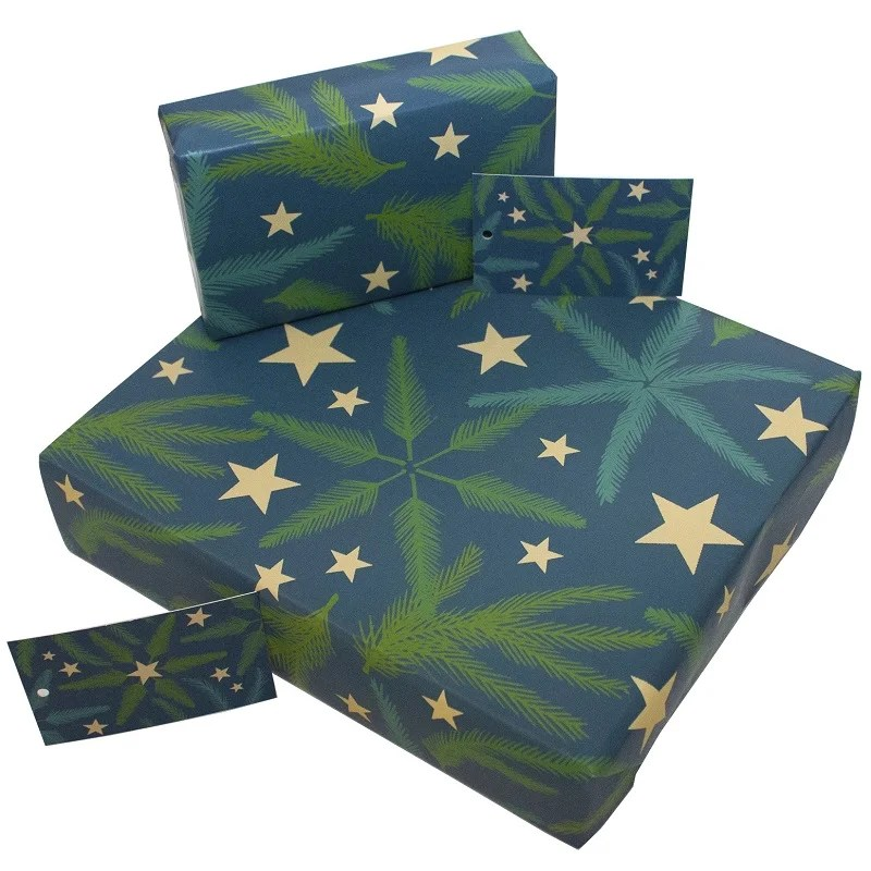 Re-wrapped: ECO Friendly Wrapping Paper Christmas Pine Needles by Kate Heiss made from 100% Unbleached Recycled Paper