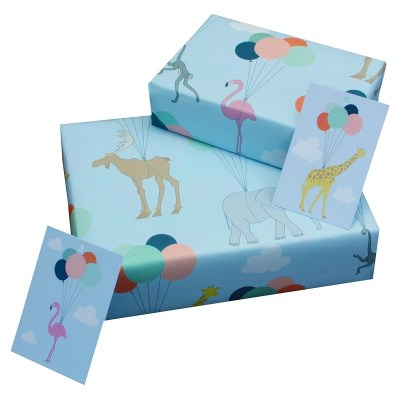 Re-wrapped: ECO Friendly Wrapping Paper Childrens Animals & Balloons by Louise Thomas made from 100% Unbleached Recycled Paper