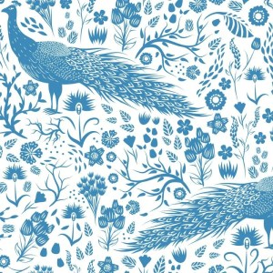 Re-wrapped: ECO Friendly Wrapping Paper Blue Peacocks by Rosie Parkinson made from 100% Unbleached Recycled Paper
