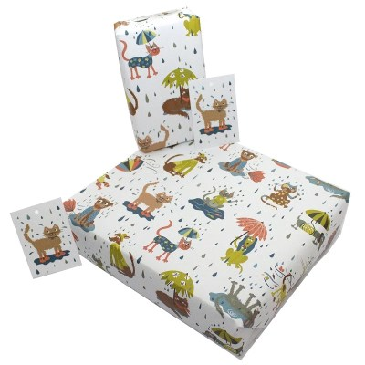 Re-wrapped: ECO Friendly Wrapping Paper Children's Raining Cats and Dogs by Rosie Parkinson made from 100% Unbleached Recycled Paper