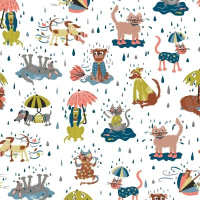 Re-wrapped: ECO Friendly Wrapping Paper Raining Cats and Dogs for Children by Rosie Parkinson made from 100% Unbleached Recycled Paper
