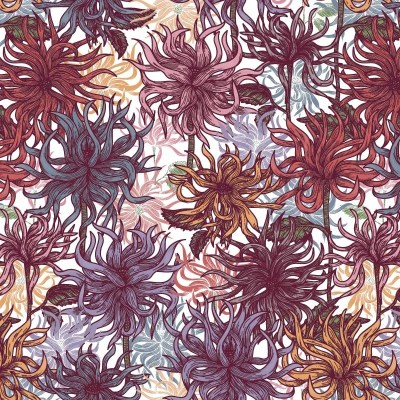 Re-wrapped: ECO Friendly Birthday Wrapping Paper Purple Dahlias by Rosie Parkinson made from 100% Unbleached Recycled Paper