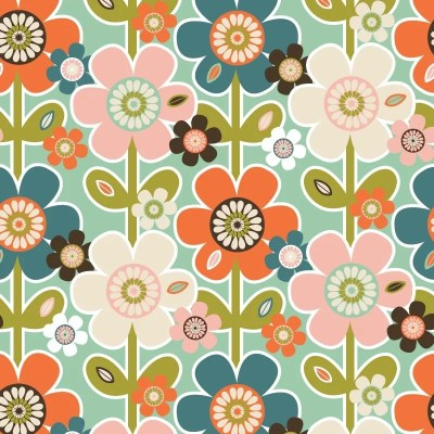 Re-wrapped: ECO Friendly Birthday Wrapping Paper Vintage Retro Daisies by Rosie Parkinson made from 100% Unbleached Recycled Paper
