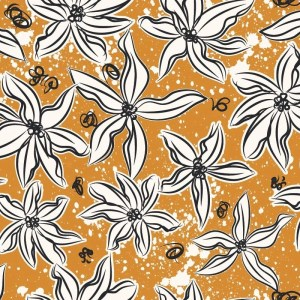 Re-wrapped: ECO Friendly Birthday Wrapping Paper Vintage Retro Orange Flowers by Rosie Parkinson made from 100% Unbleached Recycled Paper
