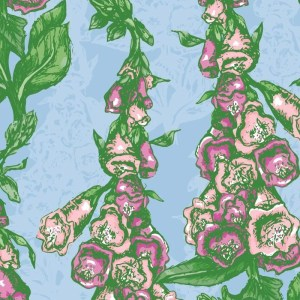 Re-wrapped: ECO Friendly Birthday Wrapping Paper Wild Foxgloves by Rosie Parkinson made from 100% Unbleached Recycled Paper