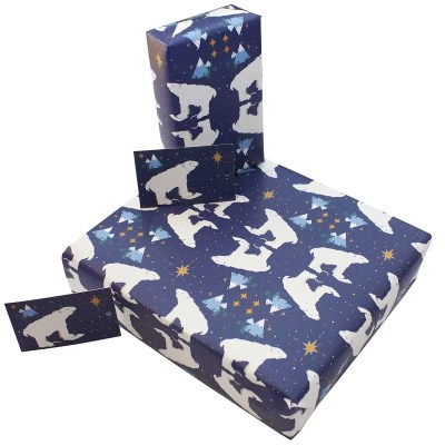 Re-wrapped: ECO Friendly Wrapping Paper Christmas Polar Bears by Vicky Scott made from 100% Unbleached Recycled Paper