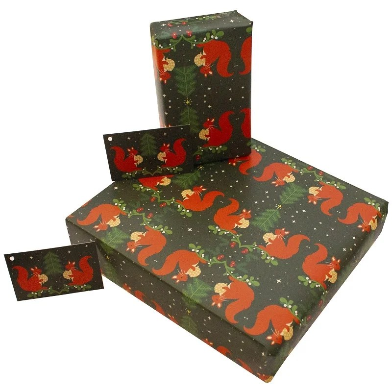 Re-wrapped: ECO Friendly Wrapping Paper Christmas Squirrels by Vicky Scott made from 100% Unbleached Recycled Paper