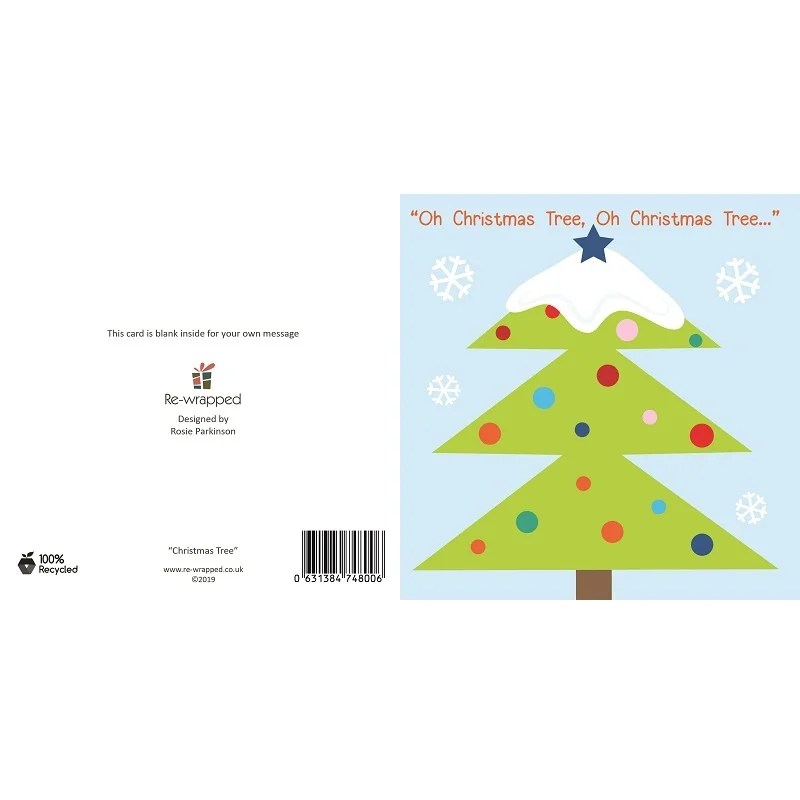 Re-wrapped: ECO Friendly Birthday Wrapping Paper Christmas Tree Greetings Card by Rosie Parkinson made from 100% Unbleached Recycled Paper