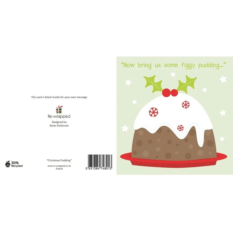 Re-wrapped: ECO Friendly Birthday Wrapping Paper Christmas Pudding Greetings Card by Rosie Parkinson made from 100% Unbleached Recycled Paper