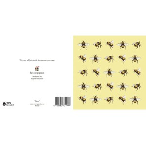 Re-wrapped: ECO Friendly Birthday Wrapping Paper Bees Greetings Card by Sophie Botsford made from 100% Unbleached Recycled Paper