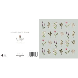 Re-wrapped: ECO Friendly Birthday Wrapping Paper Wild Flowers Greetings Card by Sophie Botsford made from 100% Unbleached Recycled Paper