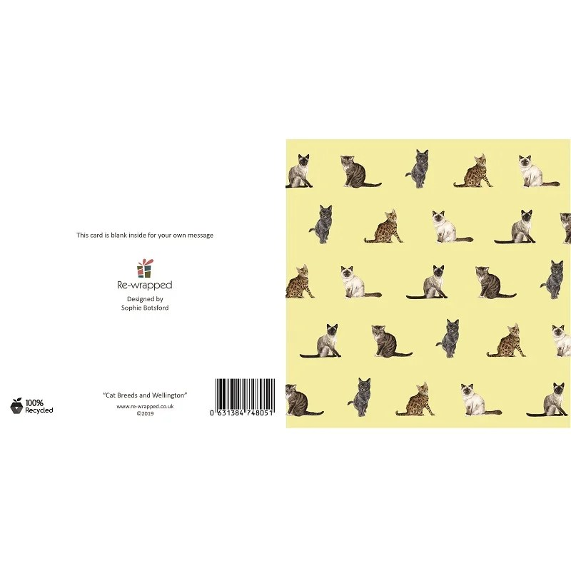 Re-wrapped: ECO Friendly Birthday Wrapping Paper Cat Breeds and Wellington Greetings Card by Sophie Botsford made from 100% Unbleached Recycled Paper