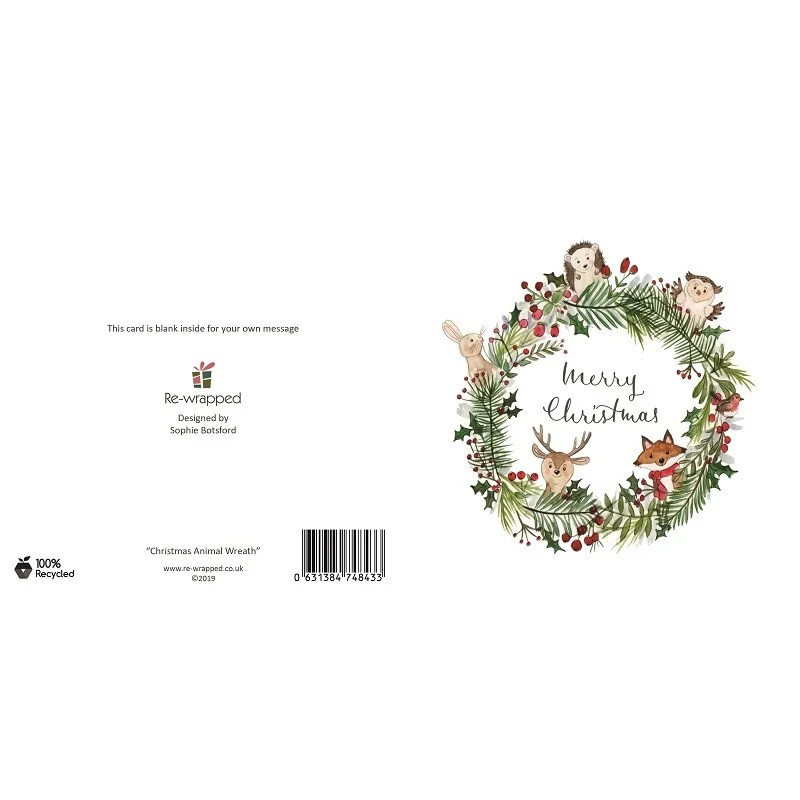 Re-wrapped: ECO Friendly Birthday Wrapping Paper Christmas Animal Wreath Greetings Card by Sophie Botsford made from 100% Unbleached Recycled Paper