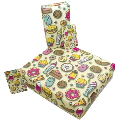 Re-wrapped: ECO Friendly Wrapping Paper Children's Sweet Eats by Rosie Parkinson made from 100% Unbleached Recycled Paper